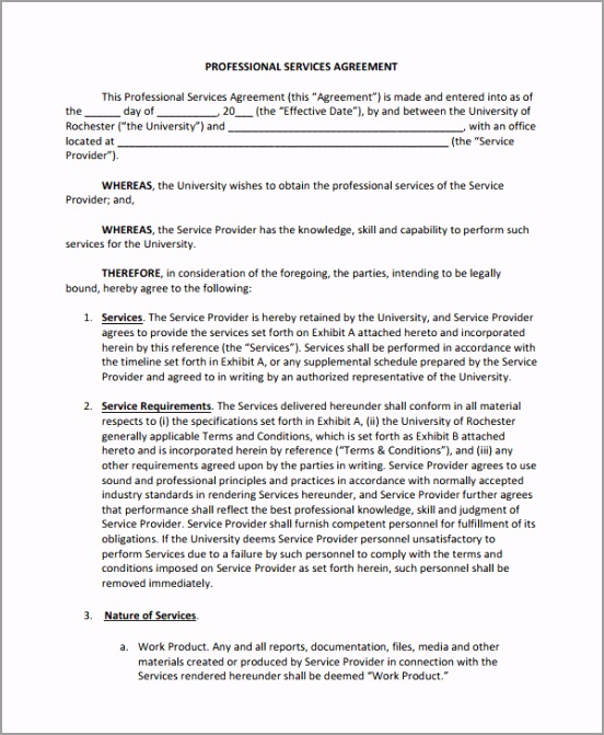 Professional Service Agreement Template ryota