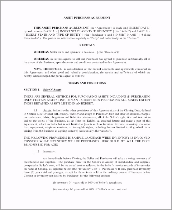 Free Download Asset Purchase Agreement Template in PDF ugrri