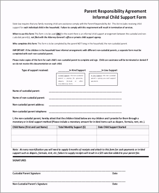 Informal Child Support Agreement Template aictr