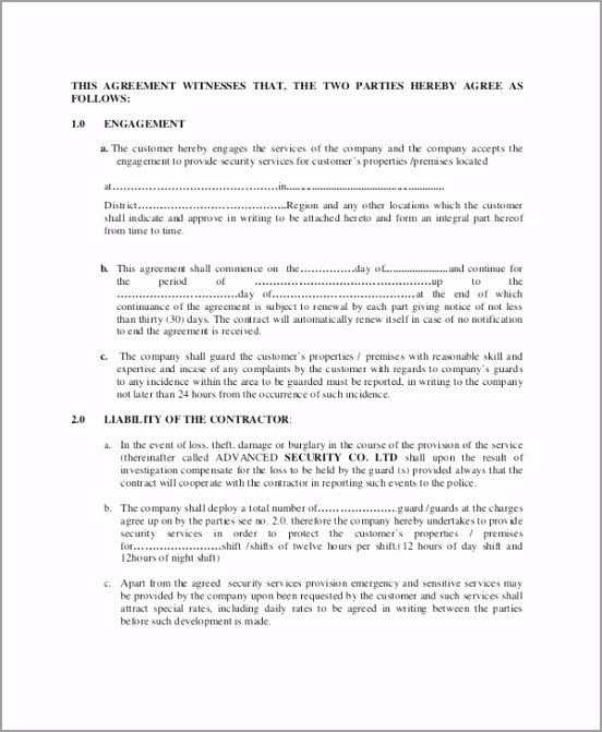 Contractor Agreement For Provision of Security Services uuoau