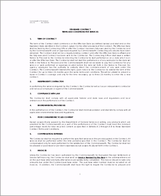 Standard Service Contract PDF oetiu