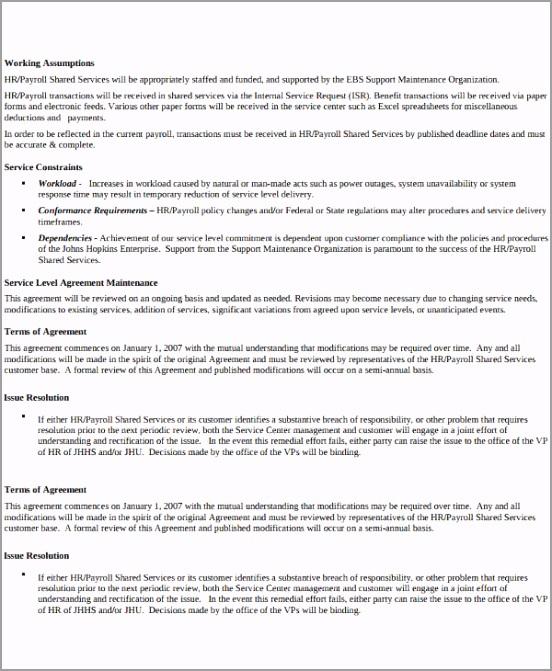 Payroll Service Level Agreement Template ierap