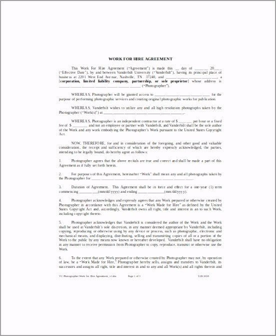 Work for Hire Agreement Example uptyp