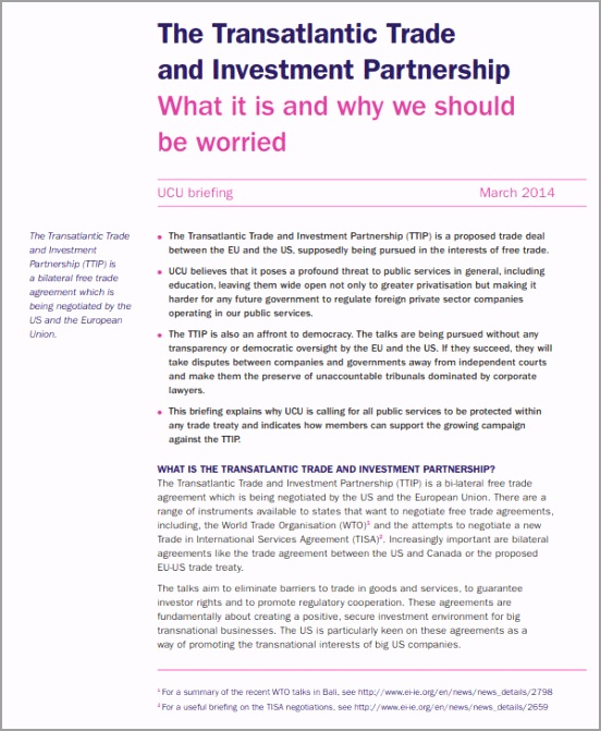 Trade and Investment Partnership Agreement etyue