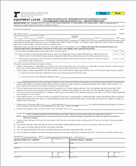 mercial Truck Lease Agreement Form rieca