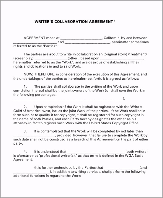 Writers Collaboration Agreement oafpa