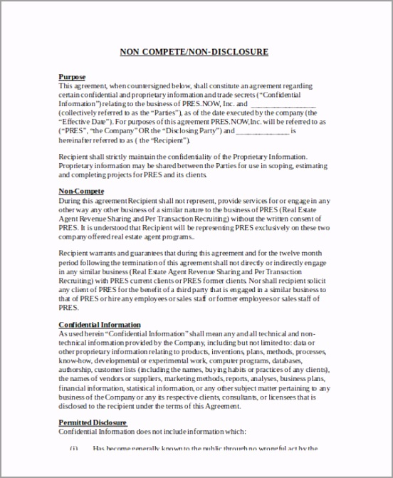 Confidentiality Non Disclosure and Non pete Agreement Form wpupp