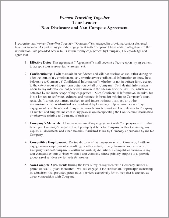 Tour Leader Non pete and Non Disclosure Agreement Template 1 ybrrr