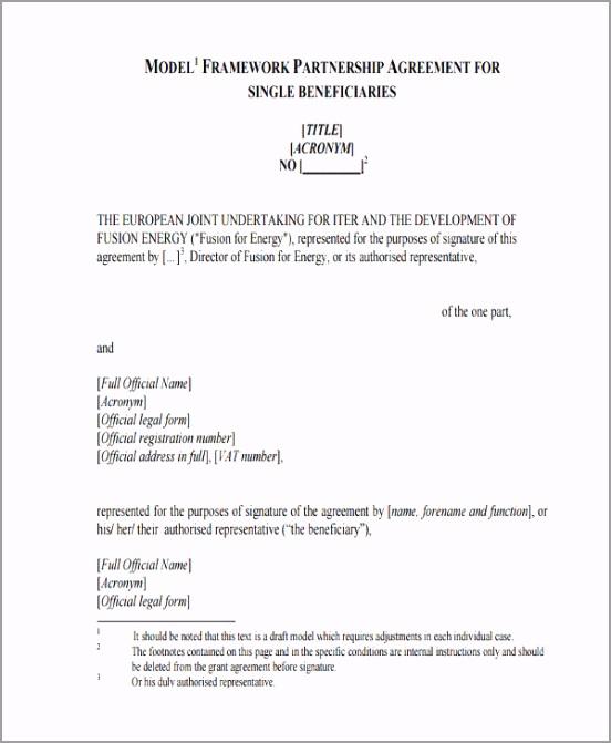 Model Framework Partnership Agreement ikioj