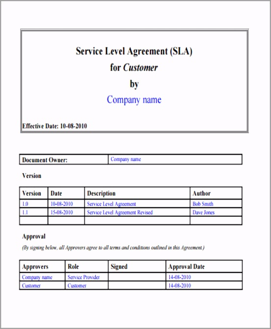 Standard Service Level Agreement Form oaort