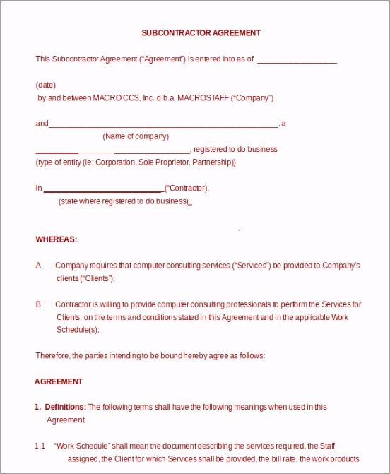 General Contractor Subcontractor Agreement aiuau