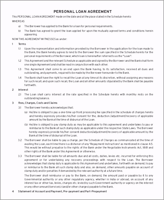 Personal Loan Agreement Template2 ytreu