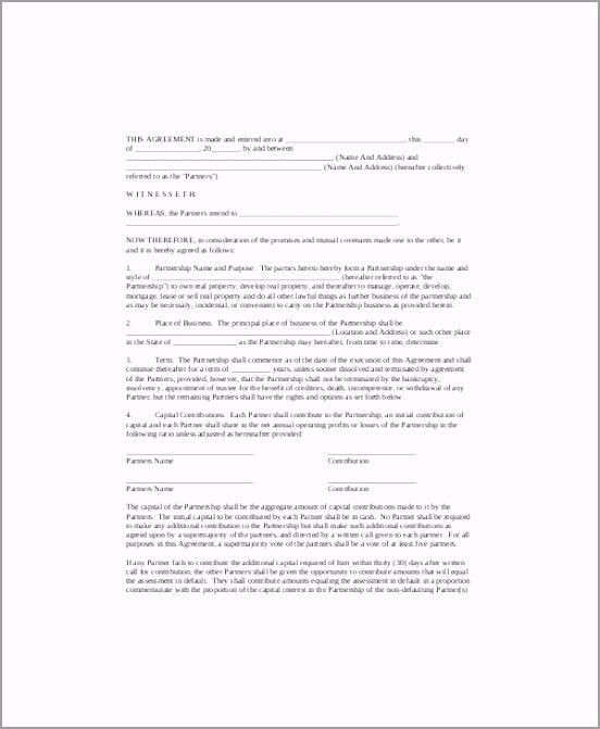 Simple Small Business Partnership Agreement iwyur