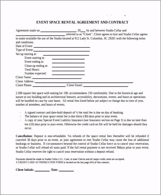 Event Rental Agreement Form airzu