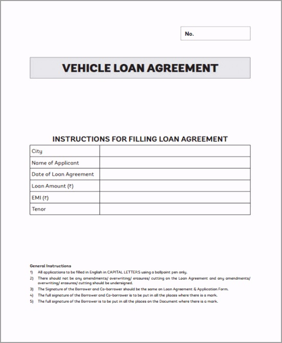 Free Car Loan Agreement tittu