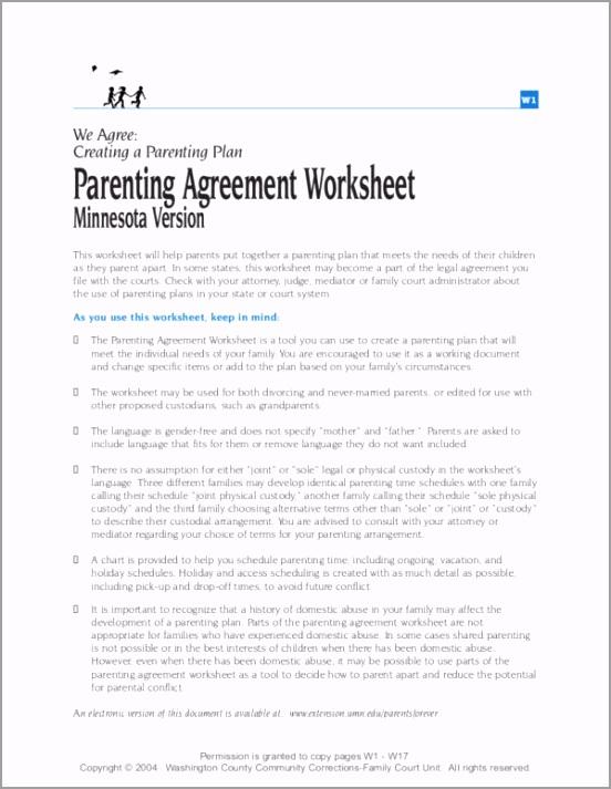 Parenting Agreement Worksheet teweg