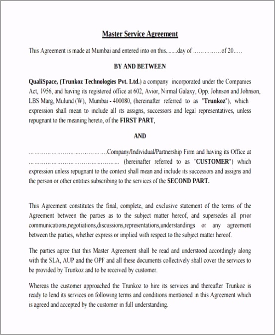 Master Service Contract Agreement Form Sample troev