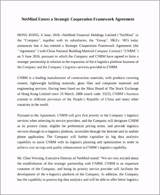 Strategic Partnership Framework Agreement utero