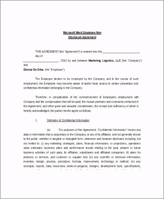 Microsoft Word Employee Non Disclosure Agreement Sample yaurr