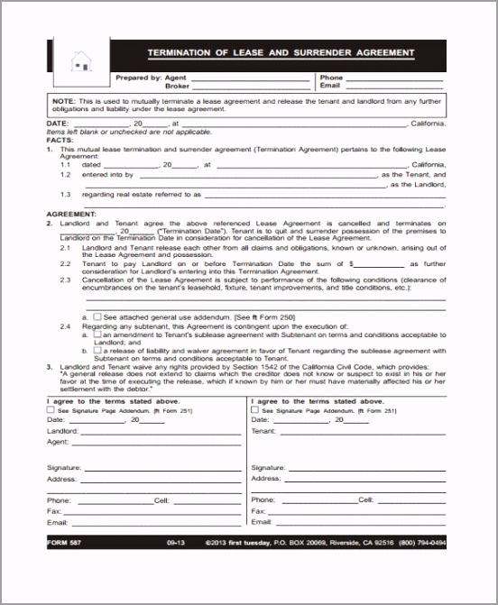 Free Lease Termination Agreement Form ierzt