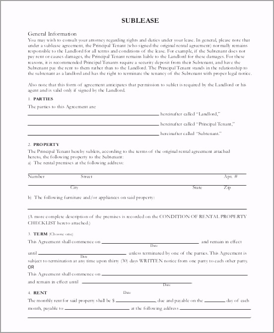 Basic Sublease Contract Template rttet