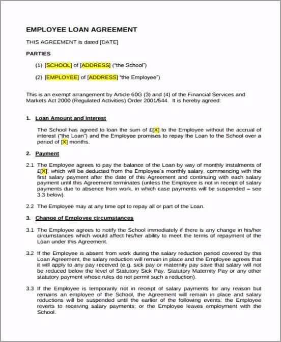 Employee Loan Agreement Sample wgioa