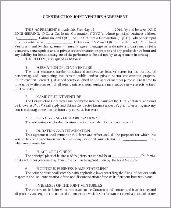 Construction Joint Venture Agreement ttpvr