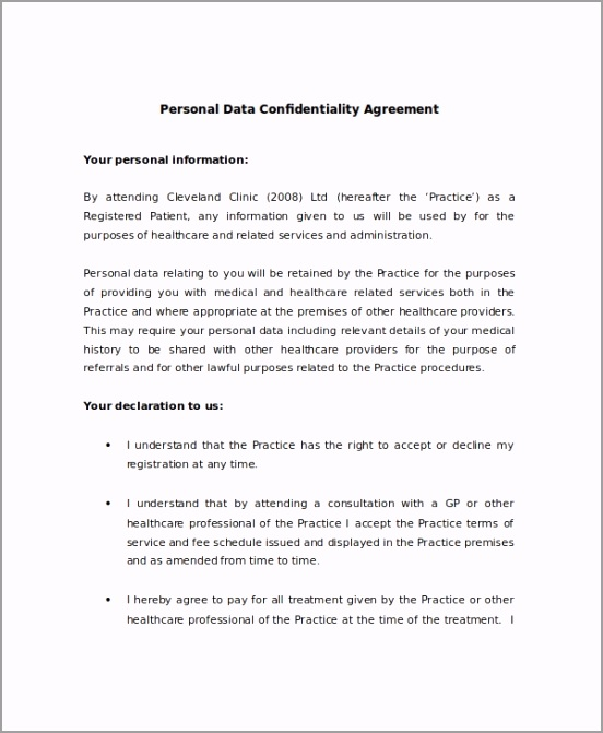 Personal Data Confidentiality Agreement Sample wwppt