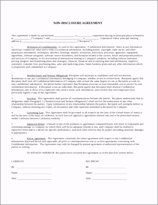 e Way Non Disclosure Agreement Template tooly