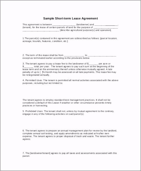 Basic Short term Lease Agreement Template yiwru