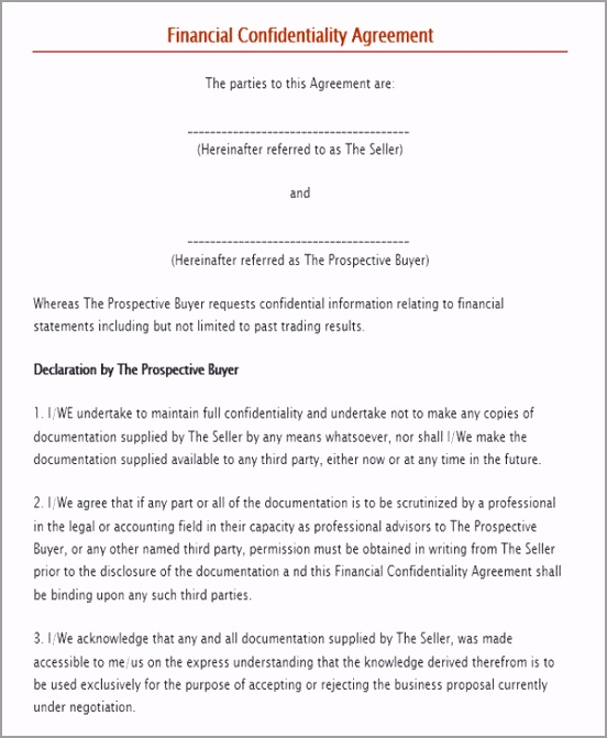 Simple Financial Confidentiality Agreement omwap