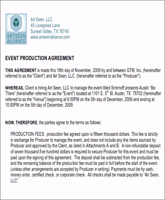 Sample Event Production Contract Agreement oaooi