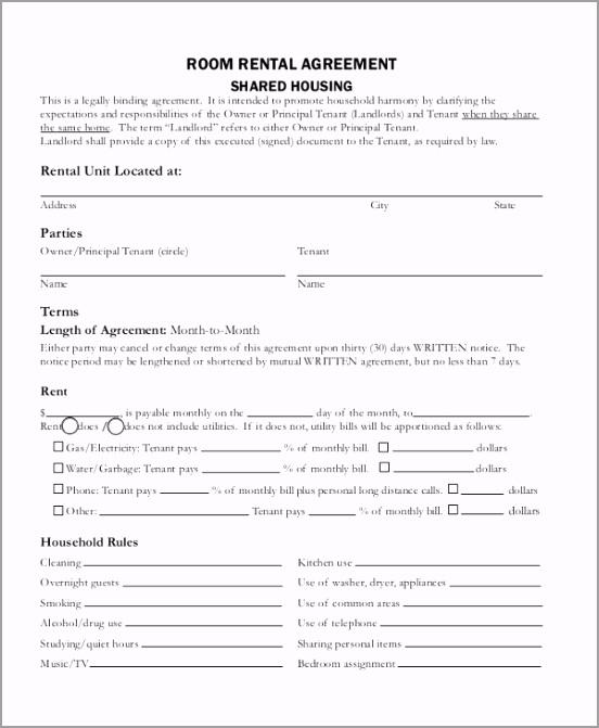 Room Rental Agreement Form PDF rurio