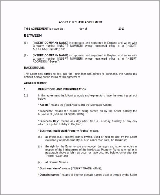 Asset Purchase Sale Agreement Template ouape