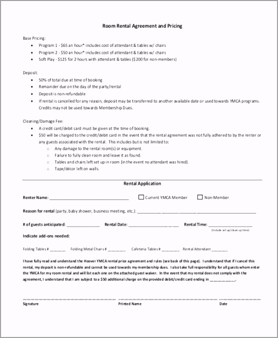Room Rental Agreement and Pricing uyput