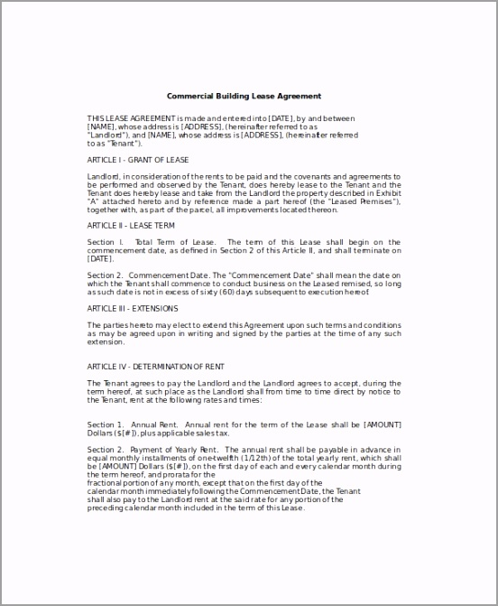 mercial Lease Agreement Template4 ifuak