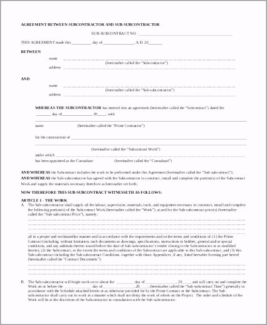Subcontractor Agreement Contract eicoe
