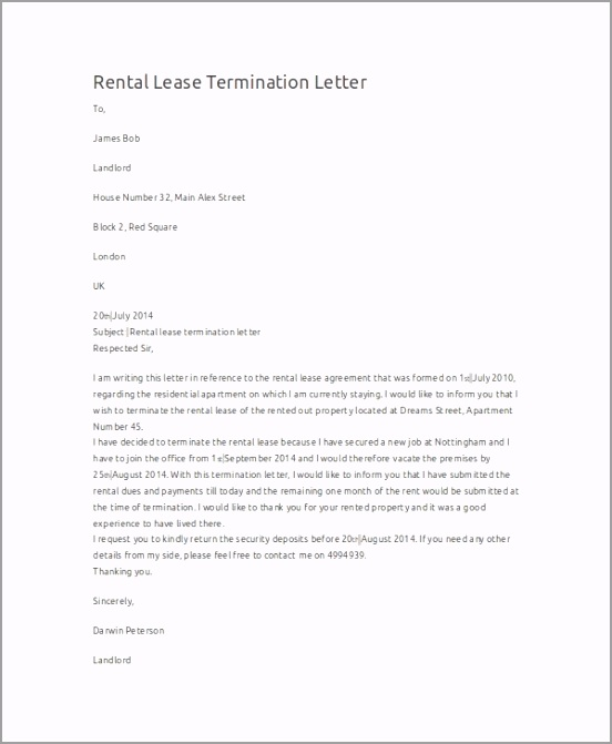 Rental Lease Termination Letter uaoil