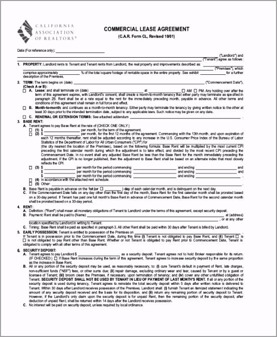 Standard mercial Lease Agreement1 iuopi