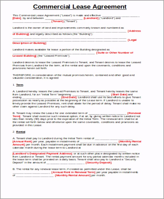 Simple mercial Property Lease Agreement yaeul