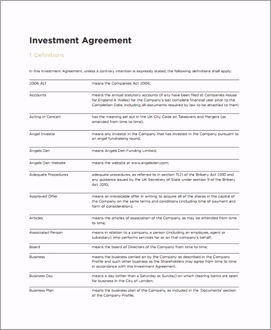 Small Business Investment Agreement etrdy