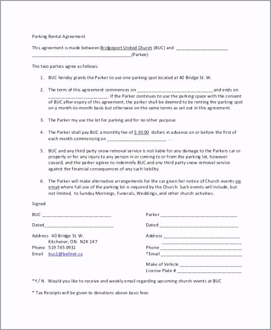 Parking Rental Agreement Template oreee