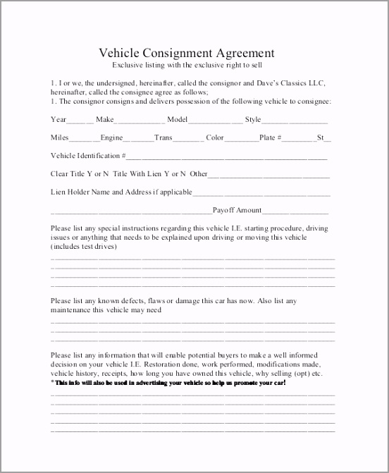 Vehicle Consignment Agreement utyry