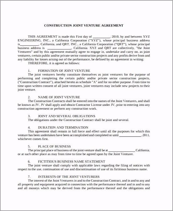 Construction Joint Venture Agreement Form weyeq