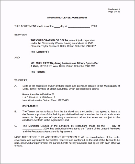 Operating Restaurant Lease Agreement uoiap