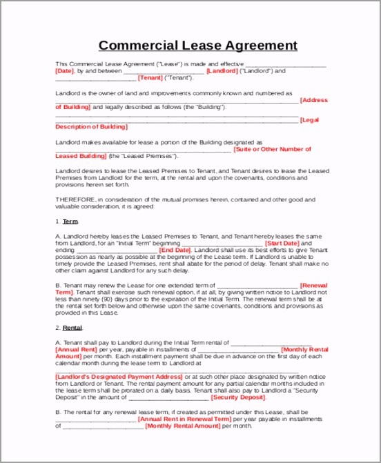 Simple Business Lease Agreement PDF obtui