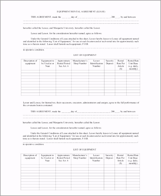 Equipment Blank Rental Agreement PDF Free Download ippui