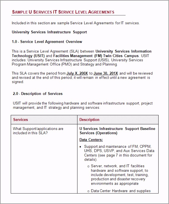 service level agreement template free etyta
