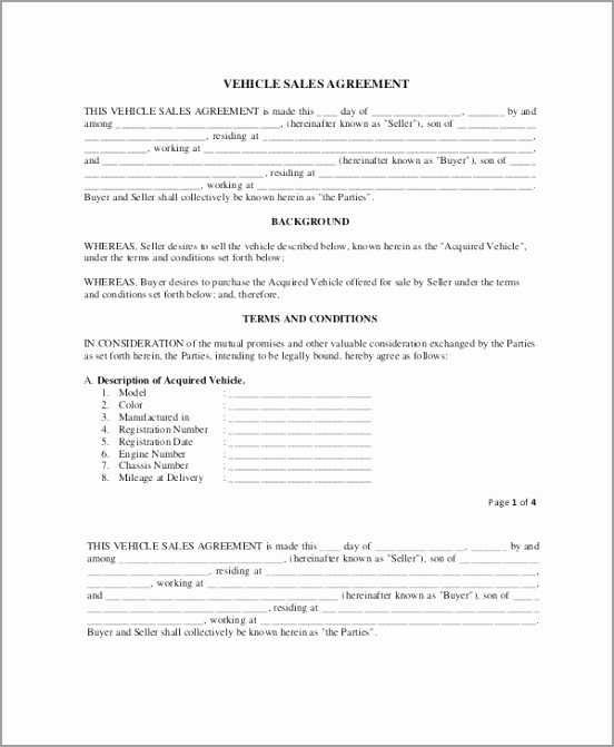 Sample Vehicle Sale Agreement Template in PDF wurro