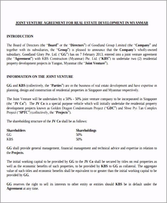 Joint Venture Development Agreement uxtcu